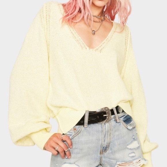 Free People Riptide V Neck Sweater Light Yellow